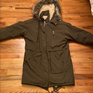 Fleece Lined Parka Coat with Fur Hood